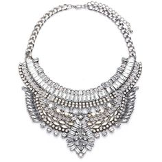 Chunky Crystal Silver Chain Pendant Bib Collar Necklace (38 CAD) ❤ liked on Polyvore featuring jewelry, necklaces, chunky silver necklace, silver necklace, crystal pendant necklace, collar necklaces and statement necklaces