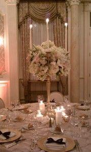 creamy white gold candelabra centerpiece