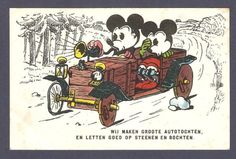 C. 1930's! Old Vintage Walt Disney Postcard Mickey Mouse and Minnie in a Car...