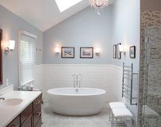 love the tub the bath config and towel rack plus skylight