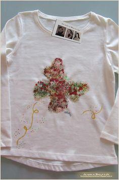 Mariposa multicolor  La pequeña Manuela ya recibió de parte de su tía preferida su camiseta personalizada y hecha a mano por Las Cositas de Maria de la Cal