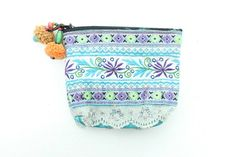 Hill Tribe Coin Pouch Bag Vintage Fabric HMONG Handmade Thailand  (BG290V.99)