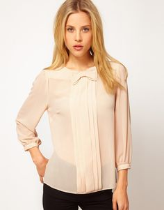 Asos Top with Bow Tie and Pleat Detail
