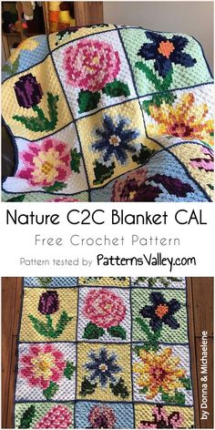 Nature C2C Blanket CAL [Free Crochet Pattern] #natureblanket #crochetpattern #crochet #C2CBlanket #freecrochetpattern #flowermotif #yarn