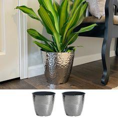 Misco 2 Pack 12 Inch Round Metallic Hammered Plastic Flower Pot Garden Planter, Silver