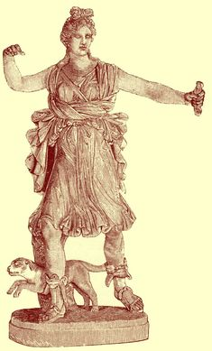Black and white photograph of a statue of Artemis holding her arm up, with a dog standing with front paws off the ground as if leaping, between her feet, from the figure at the Vatican in Rome.