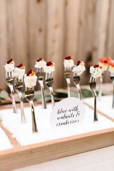 cheese fork wedding display - tomkat studio