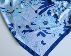 Check out Blue Floral scarf, Blue neckwear, Gift for her,  Holiday gift for Mom, Cowgirl bandana,  Colorfull floral scarf,   Chemotherapy scarves 10 on blingscarves