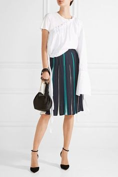 Diane von Furstenberg - Melita Pleated Silk-blend Skirt - Midnight blue - US10