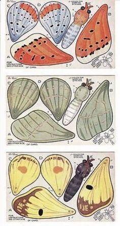 "5 NOVELTY CUT OUT MODEL POSTCARDS, TOY TOWN SERIES ""BUTTERFLIES"" - W.E. MACK (10/22/2013) Paper Puppets, Paper Toys, Paper Crafts, Foam Crafts, Diy Papillon, Borboleta Diy, Bug Art, Paper Animals, Insect Art"