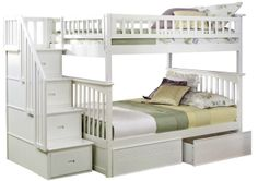 White Columbia Staircase Bunk Bed Full/Full with 2 Flat Panel Drawers