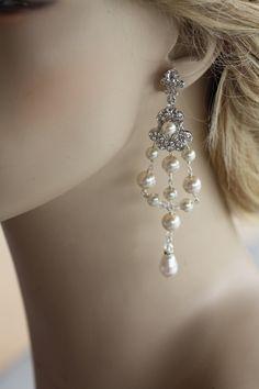 Bridal Earrings Crystal Swarovski Cubic Zirconia Wedding Jewelry Bridal Pearl Earrings, Vintage Earrings, Pear Pearls Drop by simplychic93 on Etsy