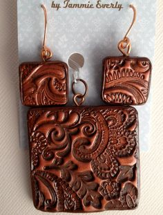 Copper Paisley Patina Polymer Clay Pendant and by TTEDesigns, $22.00  Aren't these great?