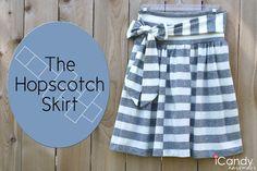 DIY Hopscotch Skirt FORGET THE OFF-SET CENTER STRIPES - I JUST LIKE THE CONSTRUCTION DESIGN :) http://icandy-handmade.com/2012/04/tutorial-hopscotch-skirt.html