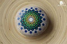 Mandala Stone Tutorial – green blue