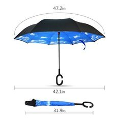 Upside Down Umbrellas with C-Shaped Handle for Women and Men Double Layer Inside Out Folding Umbrella Reverse Inverted Windproof Doodle Dinosaur Umbrella