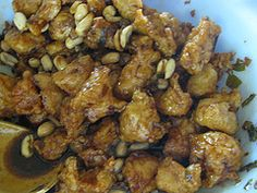 "Kung Pao Chicken ---    toss 1lb b-s chicken 1"" cubes w 1 tbls cornstarch.   Heat 2 tsp sesame oil, Wok, med heat, add chicken stirfry  5-7 min. Remove chicken. Stir fry 3 tbls green onions chopped, 3 garlic cloves minced, ½ tsp crushed red pepper flakes, ½ tsp powdered ginger for 15 sec. added combined: 2 tbls rice wine vinegar, 2 tbls soy sauce,  2 tsp sugar.  Re-add chicken, stir in 1/3 c dry roasted peanuts. Heat. (add veg?)"