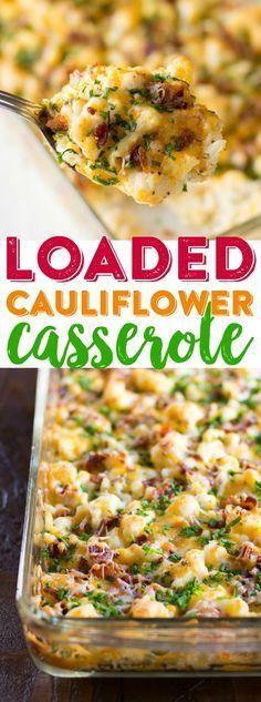 Loaded Cauliflower Casserole Recipe | Cheesy Cauliflower Casserole | Baked Cauliflower Dinner | Easy Cauliflower Casserole