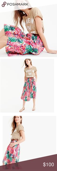 JCrew A-line Skirt NWT - This beautiful A- line summer skirt  in a Ratti painted pineapple print will be that go to piece for many outings this summer.  A favorite piece of mine. All reasonable offers considered. NO TRADES  Thank you for shopping my closet  J. Crew Skirts A-Line or Full