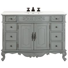 Home Decorators Collection Winslow 48 in. W Vanity in Antique Grey with Marble Vanity Top in White with White Basin
