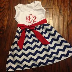 Just bought this for Haley! Love! #chevrondress #monogram