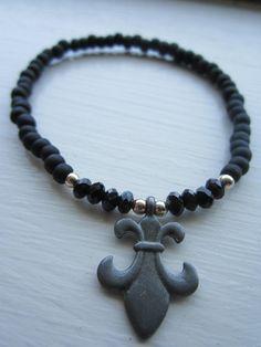 Fleur de li Charm bracelet by EvieStarBoutique on Etsy, $4.50