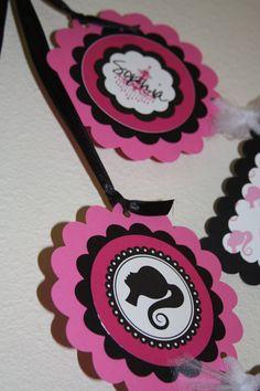 Vintage Barbie Silhouette birthday banner