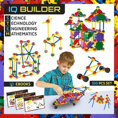 IQ BUILDER | STEM Learning Toys | Creative Construction Engineering | Fun Educational Building Toy Set for Boys and Girls Ages 5 6 7 8 9 10 Year Old + | Best Toy Gift for Kids | 333 PCS Kit with Box