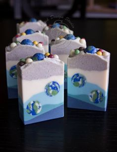 Emily with Shieh Design Studio creates intricate bars of soap inspired by scents, photos and cake decorating videos! Click through to learn more about how she got started soaping.