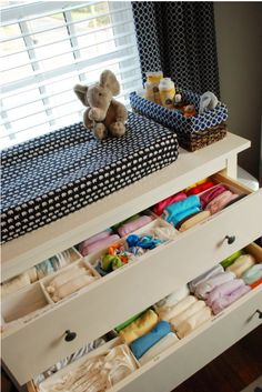 Do I want to use cloth diapers for my babies? Cloth Diaper Organization and a great changing table idea Cloth Diaper Organization, Kids Shoe Organization, Cloth Diaper Storage, Nursery Organization, Cloth Diapers, Dresser Organization, Nursery Storage, Organizing Ideas, Organizing Kids Clothes