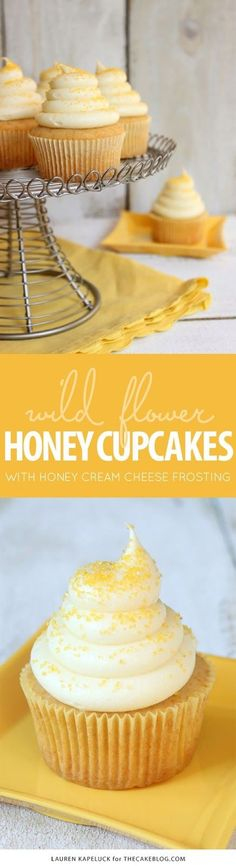 HONEY CUPCAKES WITH HONEY CREAM CHEESE FROSTING | Cake And Food Recipe
