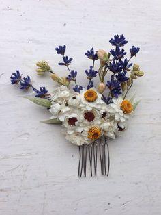 Rustic bohemian  country wedding dried flower hair slide
