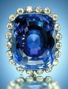 The Logan Sapphire - the second large blue sapphire known weighing 422.99 carats. This cushion-cut stone was donated to the Smithsonian by Mrs. John Logan Institution in 1960
