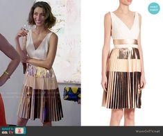 Delia's metallic pleated dress on Girlfriends Guide to Divorce.  Outfit Details: https://wornontv.net/64496/ #GG2D