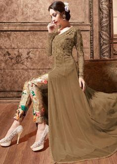 Brown Net And Silk Front Slit Anarkali Kameez With Pant