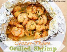 Orange Thyme Grilled Shrimp in Foil recipe- Dinner #freezercooking #diet #shrimp