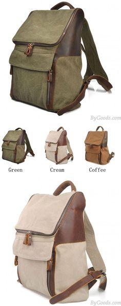 Leisure Large Pocket Zipper Solid Canvas Travel Backpack School Bag for big sale! #school #backpack #college #student #rucksack #travel #bag #canvas #girl