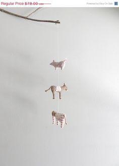 SALE 25 OFF handmade animal mobile / fabric animal by ohalbatross
