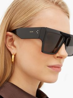 Flat Top Sunglasses, Summer Sunglasses, Black Sunglasses, Sunglasses Women, Trending Sunglasses, Celine, Fishtail Dress, Retro Chic, Sunnies
