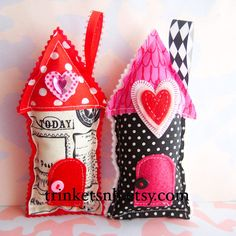 Fabric House Valentine Ornaments Set of Two