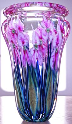 "Huge 12"" John Lotton Art Glass Vase 18 Lbs Chicago Quality Multi-Flora Signed"