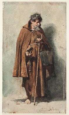 """""""Everyone of you who does not renounce all his possessions cannot be my disciple."""" Luke 14:33 // Friar begging / Fraile mendigando // 1862 - 1867 //  Mariano Fortuny y Marsal // Capuchin friars were dressed in the characteristic brown tunic & long cloak of their religious order, who carried a bucket & stick when begging for alms // Museo del Prado"""