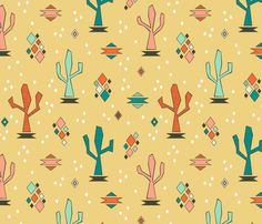 Geometric Cacti (Sunset) fabric by brendazapotosky on Spoonflower - custom fabric