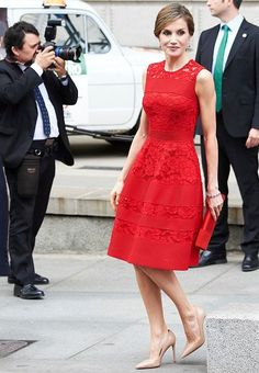 28 June 2017 - King Felipe and Queen Letizia attend the commemoration of 1977 election at the Parliament  - dress by Carolina Herrera, shoes by Prada