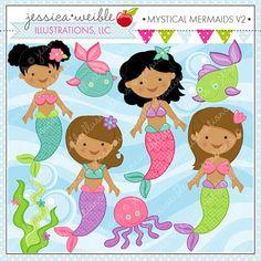 Mystical Mermaids V2 - Cute Digital Clipart - Commercial Use OK - Mermaid Clipart - Mermaids - Mermaid Graphics