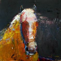 "Dominique Samyn at Mirada Fine Art, Year of the Horse #4, Acrylic & Venetian Plaster on Panel, 24"" x 24"""