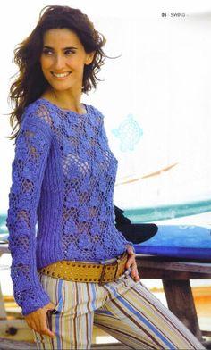 UFF ajouré crochet bleu chemise à manches longues - Renee - Lei Yu Xuan