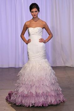 Multi-Colored Wedding Gowns with Tons of Personality Ombre Wedding Dress, Wedding Dress With Feathers, Colored Wedding Gowns, Wedding Dress Gallery, Wedding Dresses Photos, Wedding Dress Trends, Wedding Dress Styles, Designer Wedding Dresses, Wedding Attire