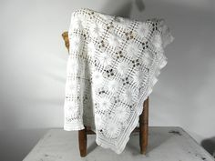 Crochet table cloth curtain white cotton by frenchvintagedream