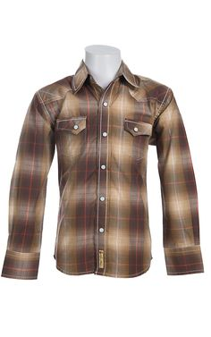 Larry Mahan Boys Long Sleeve Western Snap Shirt KLS1341014